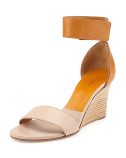 Two-Tone Wedge Sandal, Beige/Brown