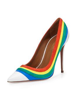 Graphic Striped Suede Pump, Rainbow