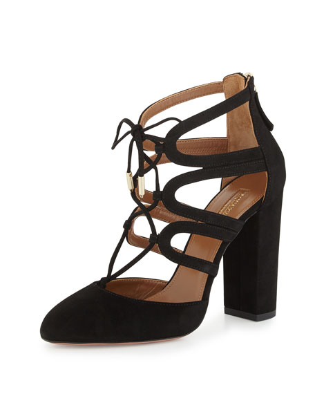 Holli Suede Curvy-Caged Pump, Black