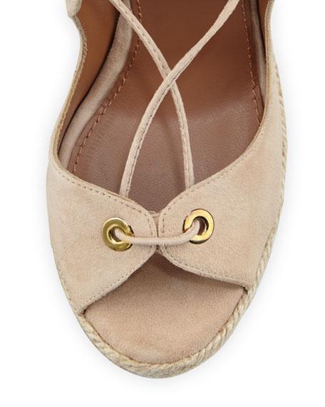 Tango Curvy Lace-Up Wedge Sandal, Nude