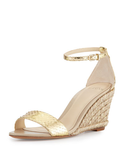 Metallic Python Espadrille Sandal, Gold