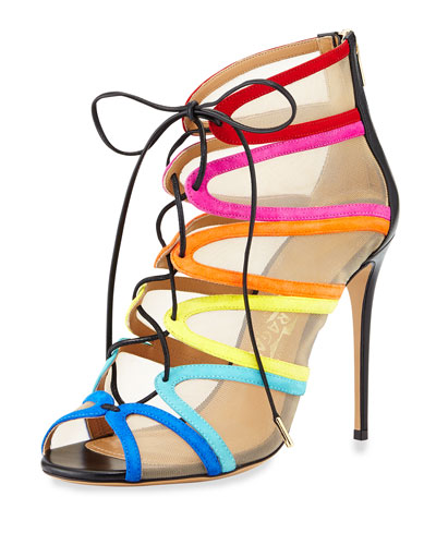 Mesh-Inset Lace-Up Sandal, Multi Colors