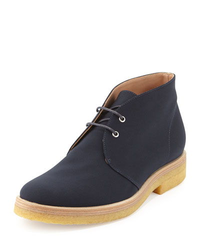Lace-Up Crepe Desert Boot, Navy
