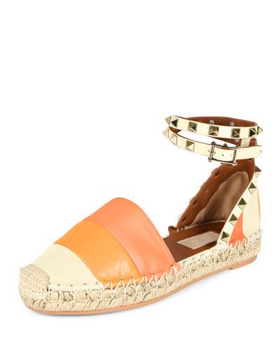 Rockstud Colorblock Ankle-Wrap Espadrille, Mandarin