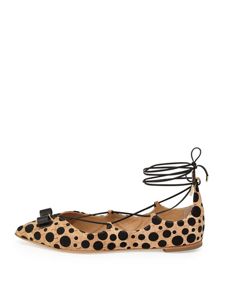 Spotted Cork Lace-Up Flat, Natural/Black