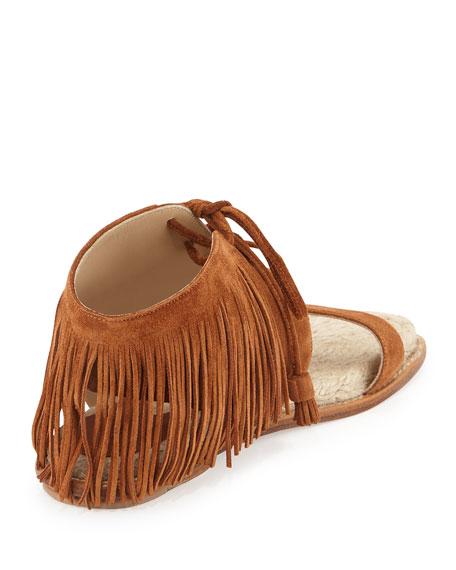 Shantou Fringe Suede Flat Sandal, Sichuan Brown