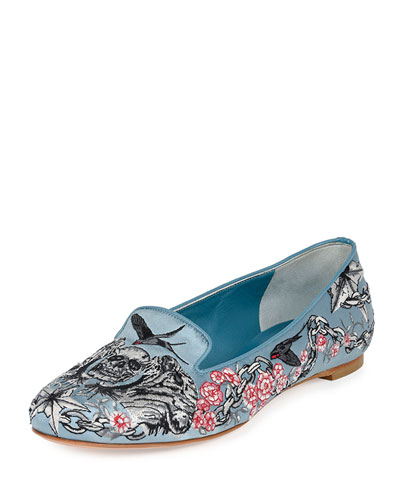 Embroidered Silk Smoking Slipper, Multi