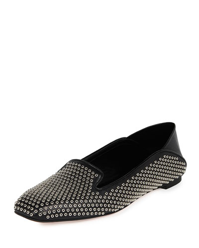 Studded Leather Smoking Slipper, Black