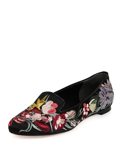 Floral-Embroidered Smoking Slipper, Black/Multi