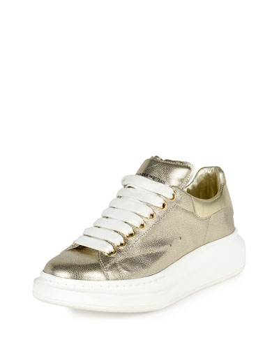 Metallic Leather Low-Top Sneaker, Gold