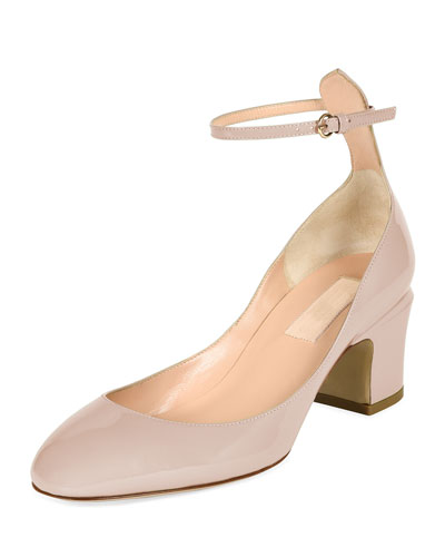 Tango Patent Block-Heel Ankle-Wrap Pump, Powder