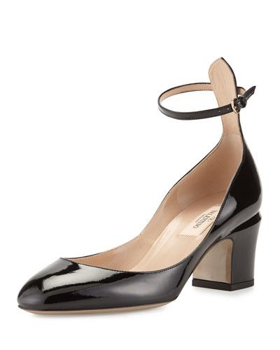 Tango Patent Block-Heel Ankle-Wrap Pump, Black
