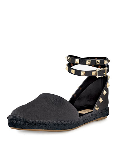 Rockstud Leather Espadrille Flat, Deep Denim/Nero