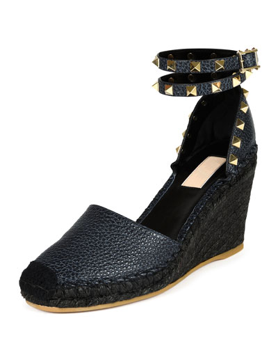 Rockstud Leather Wedge Espadrille, Deep Denim/Black