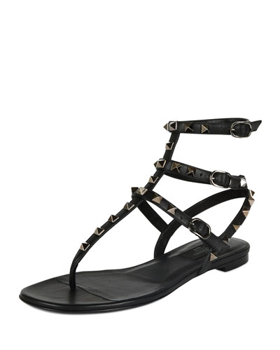 Rockstud Leather Gladiator Sandal, Black