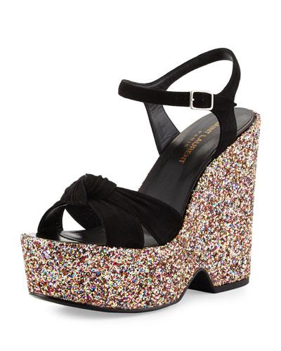 Platform Glitter-Wedge Suede Sandal, Multi/Black