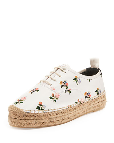 Floral-Print Leather Lace-Up Espadrille, White