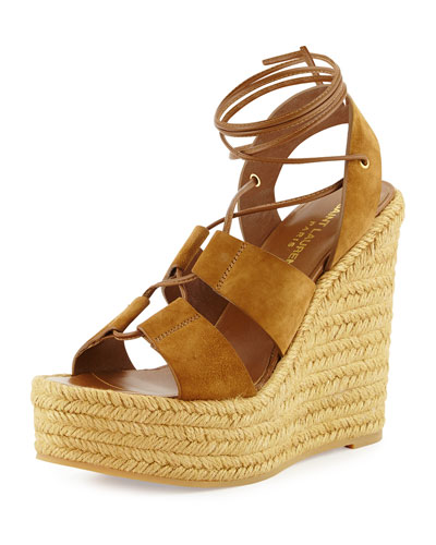 Suede Lace-Up Espadrille Sandal, Tan