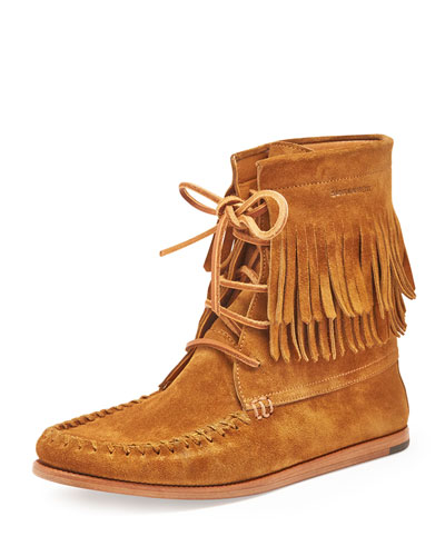 Fringed Suede High-Top Moccasin Bootie, Tan