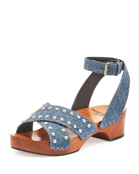 Studded Denim Clog Sandal, Light Blue