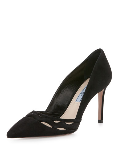 Suede Point-Toe Cutout 85mm Pump, Black
