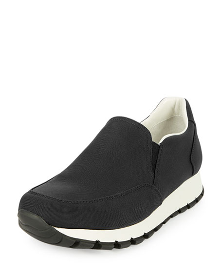Prada Linea Rossa Tech Fabric Slip-On Sneaker, Black/White