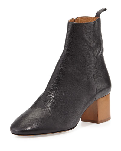 Drew Leather Ankle Bootie, Black
