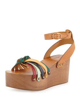 Zia Knotted Leather Sandal, Multi