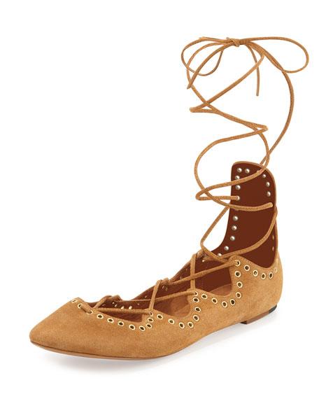 5266c66d30 Isabel Marant Leo Ankle-Wrap Ballerina Flat, Peach