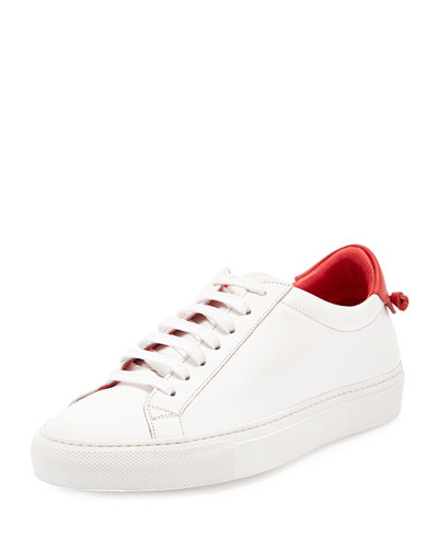 Calfskin Low-Top Sneaker, White/Red