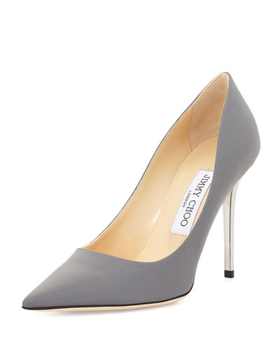 Abel Shimmer Fabric 100mm Pump, Silver