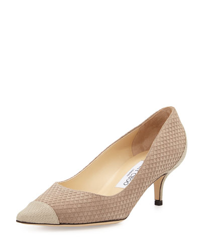 Aza Textured Suede 50mm Pump, Marble