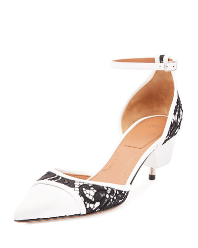 Lace & Leather Screw-Heel Pump, Black/White