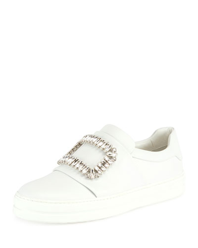 Leather Pilgrim Buckle Sneaker, White (Bianco)