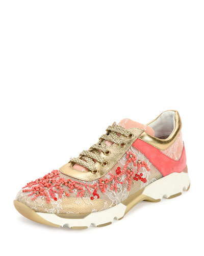 Beaded Lace & Leather Sneaker, Coral