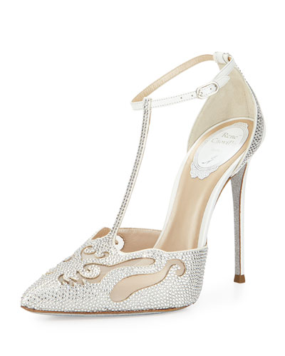 Crystal-Embellished T-Strap Evening Pump, White