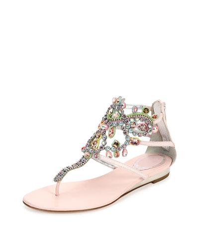 Crystal-Cage Karung Sandal, Pink