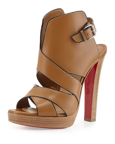 Apron Lili Cutout High-Vamp Red Sole Sandal, Beige