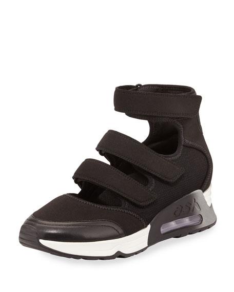 Luna Triple Grip-Strap Sneaker, Black