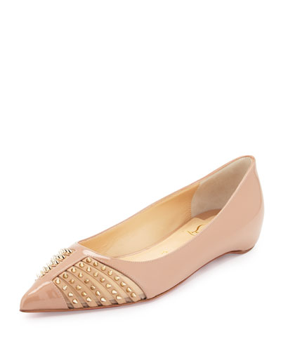 Baretta Studded Patent Red Sole Skimmer Flat, Nude