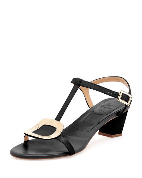 b914d4f88a6689 Roger Vivier Chips Leather T-Strap Sandal