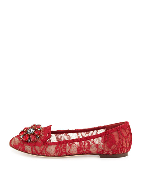 Crystal-Embellished Lace Loafer, Red
