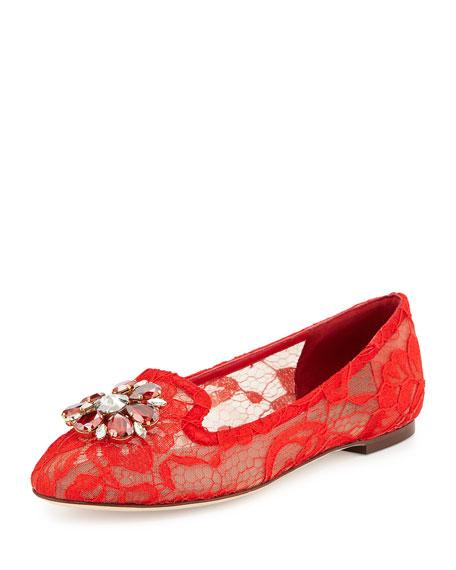 Crystal-Embellished Lace Loafer, Red Orange
