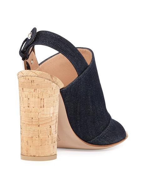 Denim Slingback Cork-Heel Mule Sandal