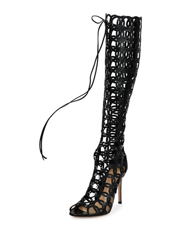 Laser-Cut Open-Toe Leather Knee Boot, Black