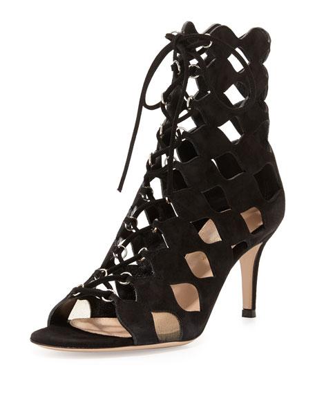 Curvy Cutout Lace-Up Suede Sandal, Black