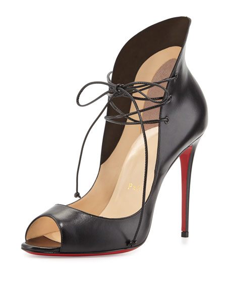 Mega Vamp Lace-Up Red Sole Pump, Black
