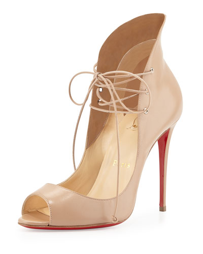 Mega Vamp Lace-Up Red Sole Pump, Nude
