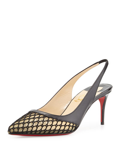 Miluna Low-Heel Slingback Red Sole Pump, Black