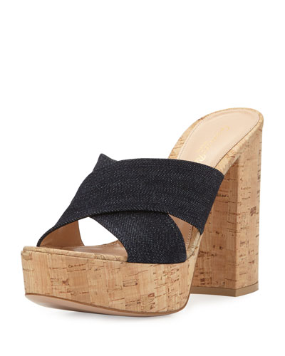 Denim Platform Crisscross Mule Sandal, Denim